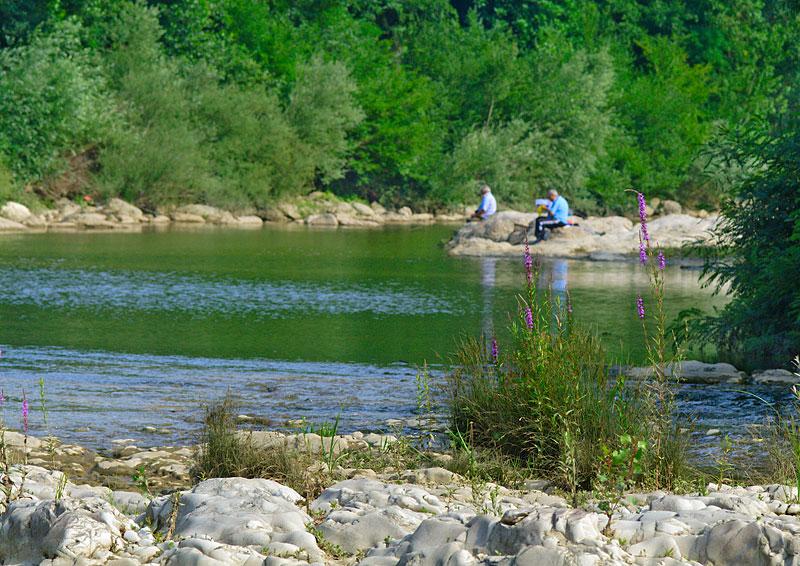 Pescatori sull'Arno a Bruscheto